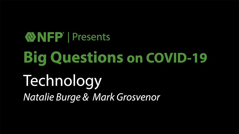 thumbnail image of Big Questions on COVID-19 - Technology with Natalie Burge and Mark Grosvenor